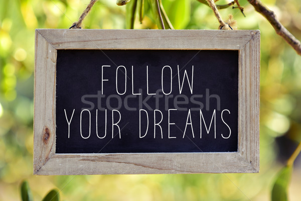 chalkboard with the text follow your dreams Stock photo © nito
