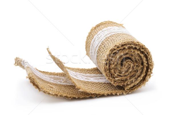 Toile de jute ruban blanche dentelle rustique utilisé Photo stock © nito