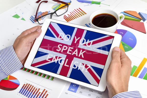 question do you speak English? in a tablet Stock photo © nito