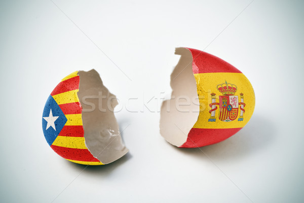 Catalan pro-independence flag and Spanish flag Stock photo © nito