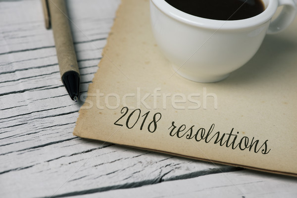 text 2018 resolutions in a note Stock photo © nito