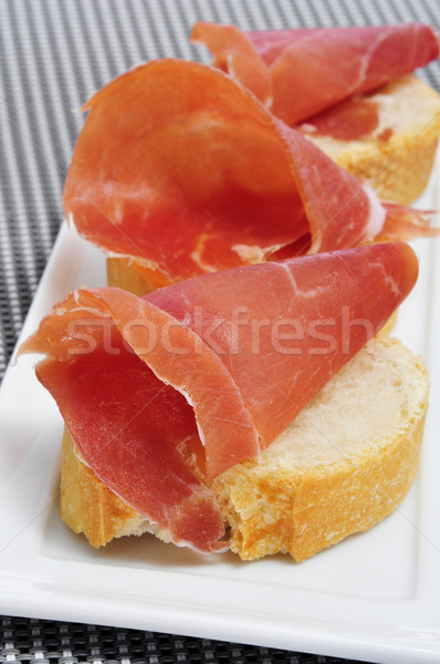 Серрано ветчиной Тапас Ломтики хлеб испанский Сток-фото © nito