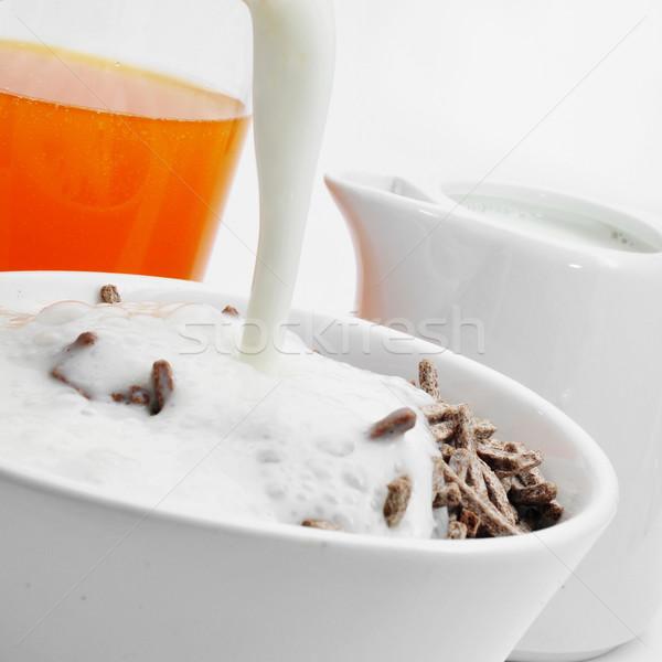 Suco de laranja cereal farelo iogurte tigela Foto stock © nito