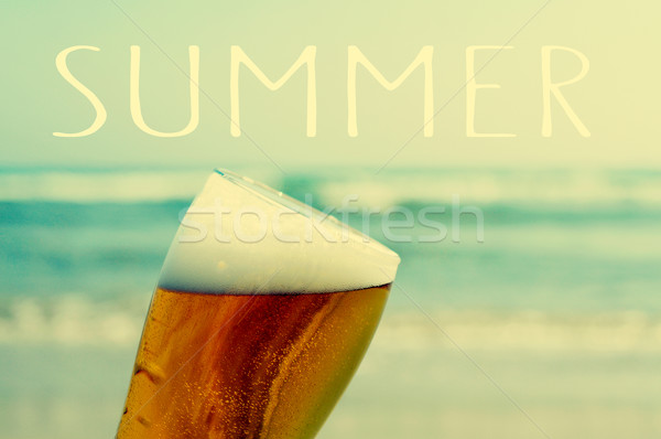 summer on the beach with a refreshing beer Stock photo © nito