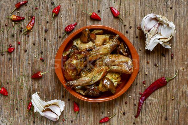Tipikus spanyol recept nyúl lövés tányér Stock fotó © nito