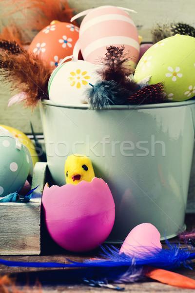 Stock fotó: Díszített · húsvéti · tojások · tollak · játék · csirke · közelkép