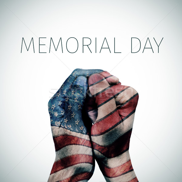 text memorial day and american flag Stock photo © nito