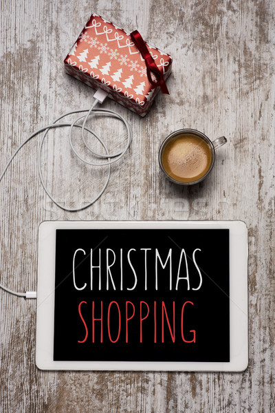 gift and christmas shopping in a tablet Stock photo © nito