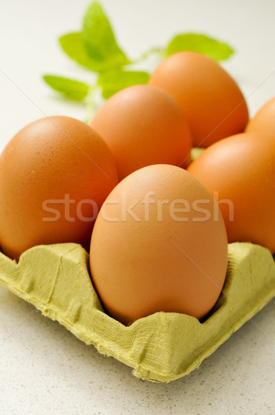 brown eggs in an egg carton Stock photo © nito