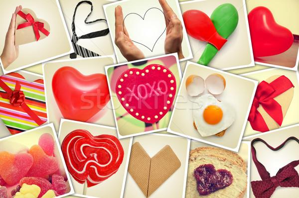 Kolaż serca rzeczy shot inny ściany Zdjęcia stock © nito