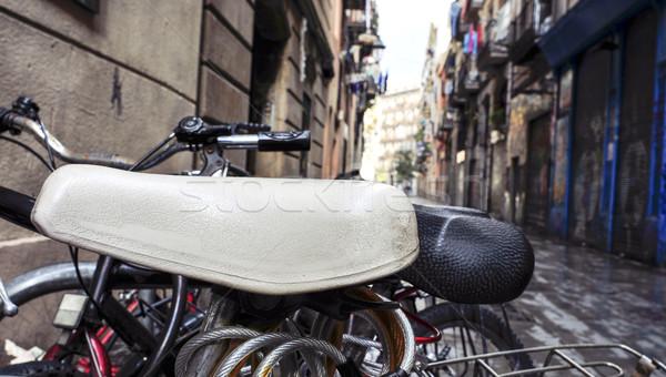 Велосипеды заблокированный улице старый город Барселона Испания Сток-фото © nito
