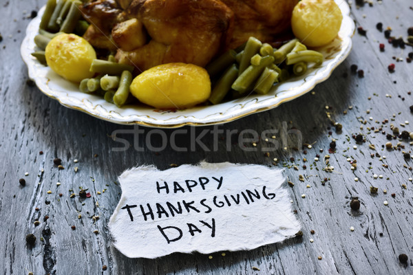 roast turkey and text happy thanksgiving day Stock photo © nito