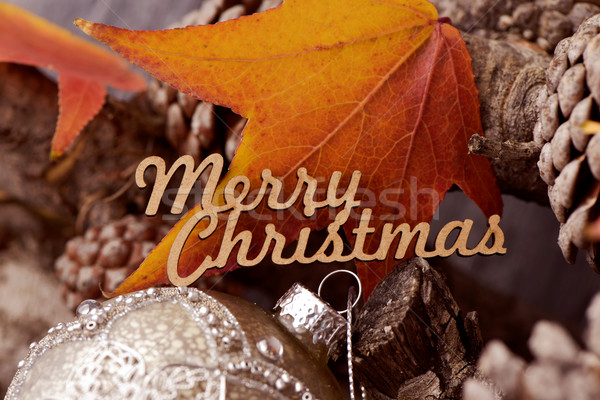 text merry christmas, pine cones and bauble Stock photo © nito