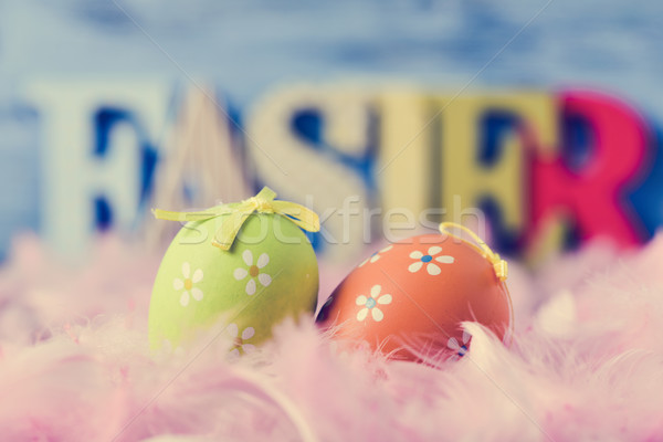 decorated eggs, feathers and word easter Stock photo © nito