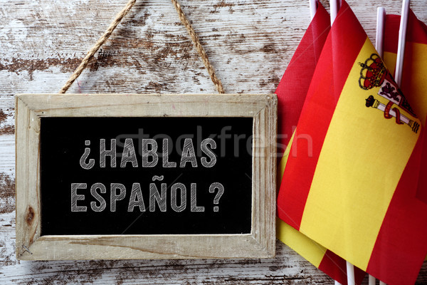 Cuestión hablar espanol pizarra escrito banderas Foto stock © nito