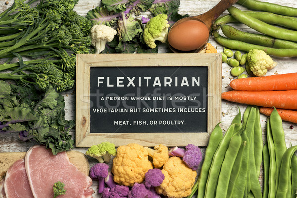raw vegetables, eggs and meat and text flexitarian Stock photo © nito