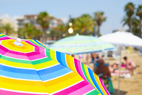 colorful umbrellas on the beach Stock photo © nito