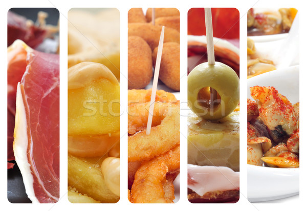 Spaans tapas collage verschillend foto's voedsel Stockfoto © nito