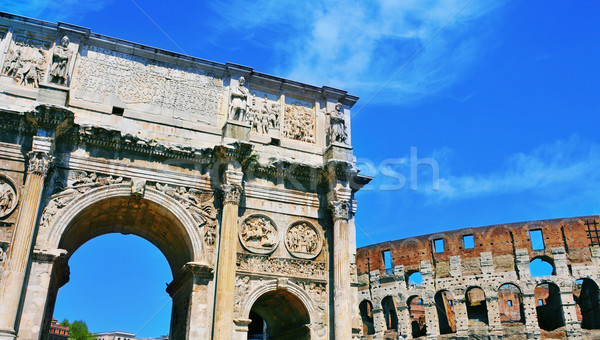 Arch of Constantine and Coliseum in Rome, Italy Stock photo © nito