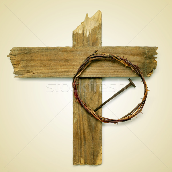 Holy Cross, crown of thorns and nail Stock photo © nito
