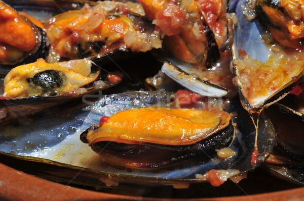 mejillones a la marinera, spanish mussels in marinara sauce Stock photo © nito
