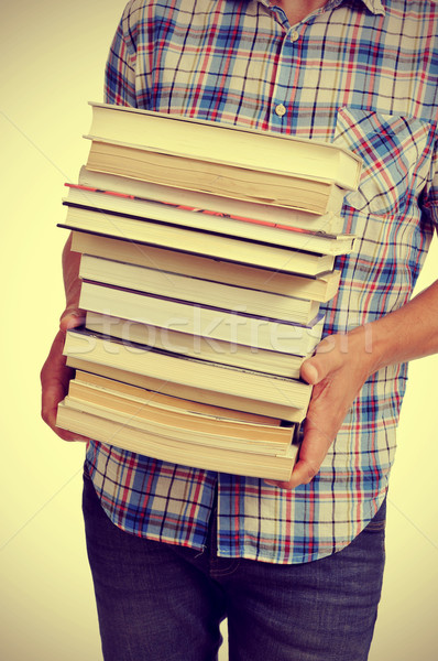 young man with books, with a filter effect Stock photo © nito