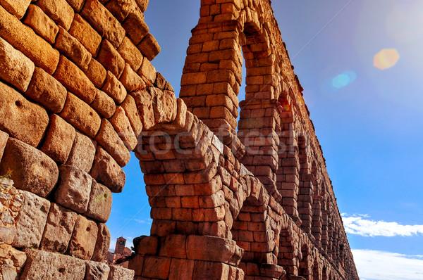 Aqueduct of Segovia, in Spain Stock photo © nito