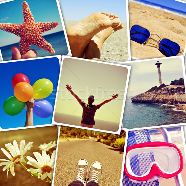 summer pictures shot by myself, simulating a wall of snapshots Stock photo © nito