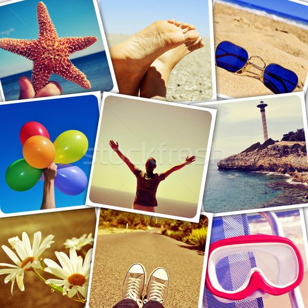 Estate immagini shot muro mosaico sociale Foto d'archivio © nito