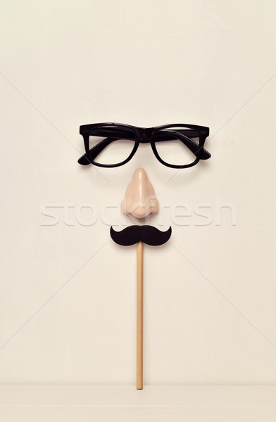 eyeglasses, nose and mustache depicting a man face Stock photo © nito