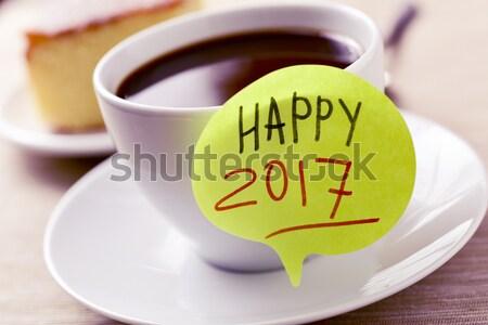 Stockfoto: Aantal · 2016 · nieuwjaar · beker · koffie · thee