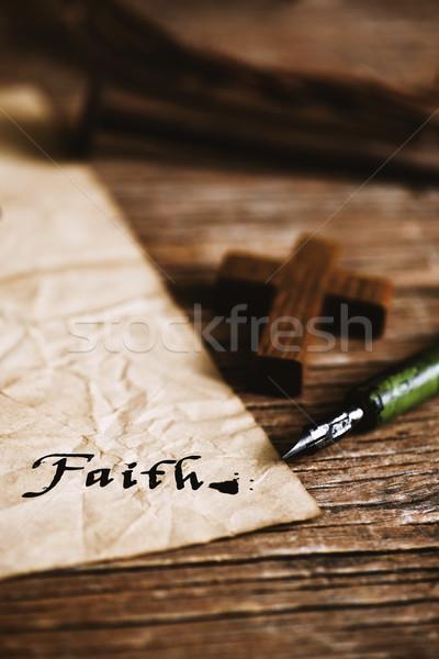 wooden christian cross and word faith Stock photo © nito