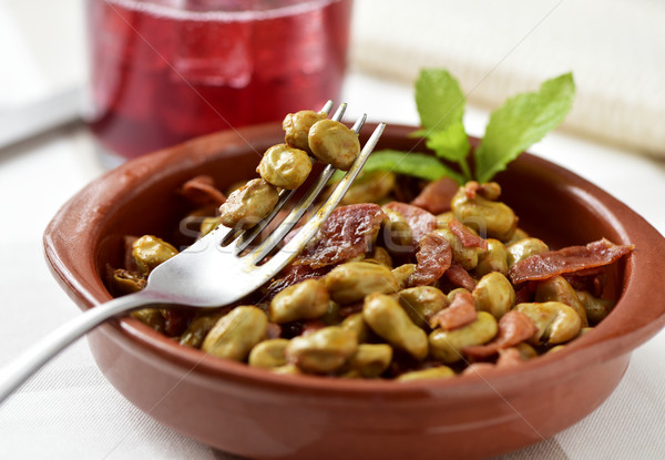 spanish broad bean stew with serrano ham Stock photo © nito