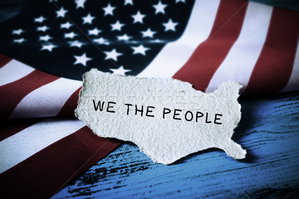 text we the people and flag of USA Stock photo © nito