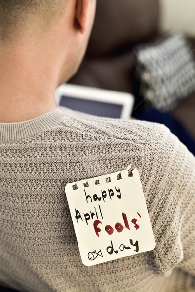 young man and text happy april fools day Stock photo © nito
