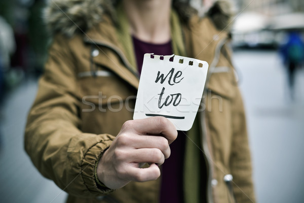 woman showing a note with the text me too Stock photo © nito