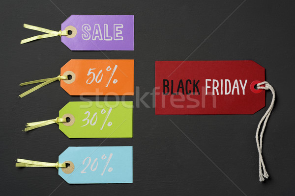 Black friday etichette diverso percentuali testo rosso Foto d'archivio © nito