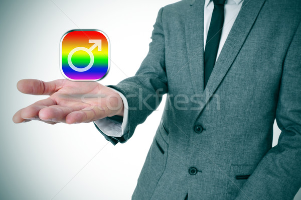 man showing a gay male app icon Stock photo © nito