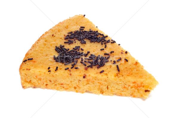 Foto stock: Bolo · de · cenoura · peça · chocolate · textura · casa · alimentação