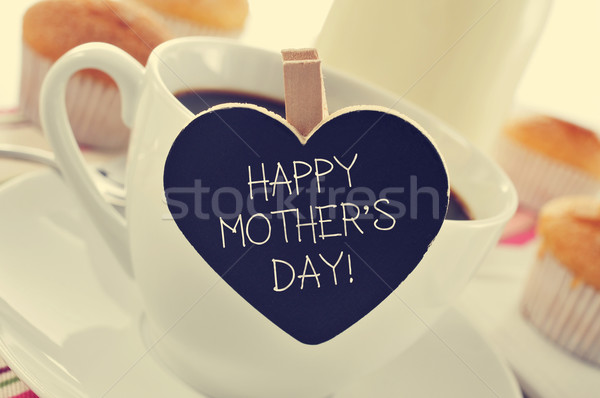 breakfast and happy mothers day written in a heart-shaped blackb Stock photo © nito