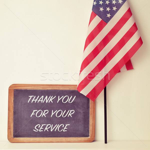 text thank you for your service in a chalkboard and the flag of  Stock photo © nito