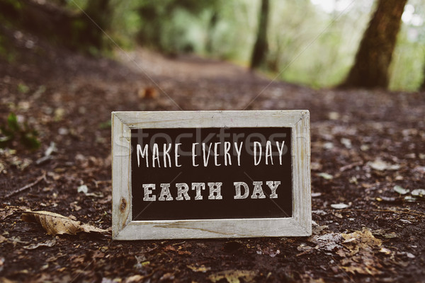 chalkboard with the text make every day earth day Stock photo © nito