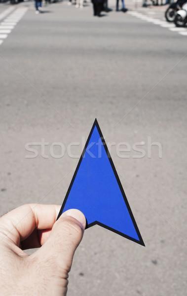 Férfi nyíl jelzés kéz utca közelkép fiatal Stock fotó © nito