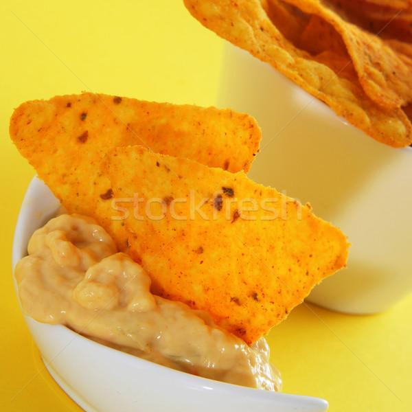 Tortilla chips queso tazón amarillo alimentos Foto stock © nito