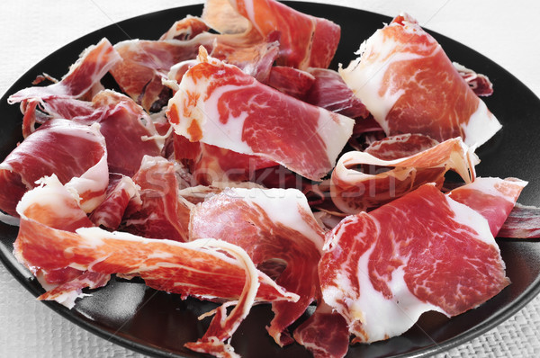Spanyol serrano sonka felszolgált tapas tányér Stock fotó © nito