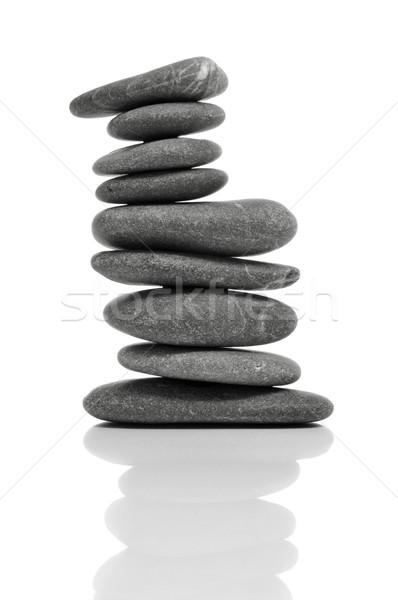 バランスのとれた 禅 石 白 リラックス ストックフォト © nito