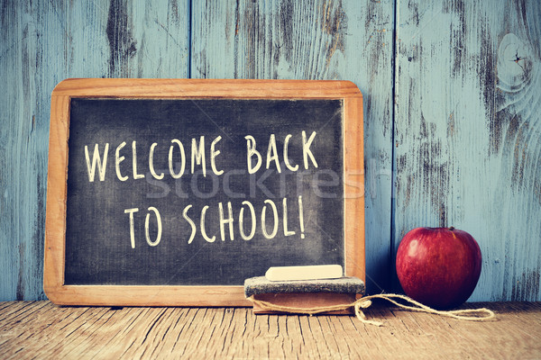 text welcome back to school written on a chalkboard, cross proce Stock photo © nito