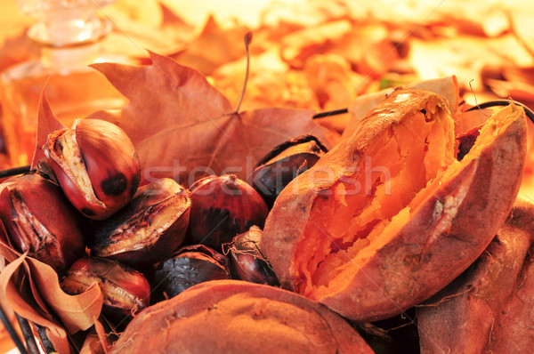 roasted chestnuts and roasted sweet potatoes in a basket Stock photo © nito