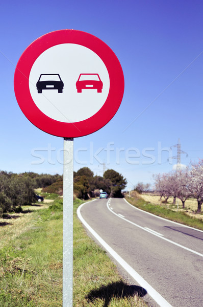 no overtaking sign in a secondary road Stock photo © nito