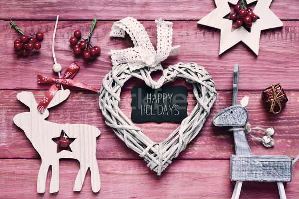 christmas ornaments and text happy holidays, filtered Stock photo © nito